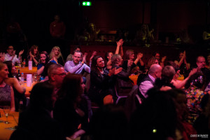 The audience at the beginning of a standing ovation at The Slippery Belle Presents...BURLESQUE! at The Lowry